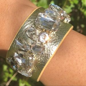 Wrap Bracelet With Crystals Leather Like Band